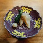 季節料理 あまね - 唐墨と餅の挟み焼き・野蒜味噌