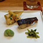 季節料理 あまね - 筍の木の芽焼き・鰆の西京焼き・山葵の三杯酢漬け・天豆の塩茹で