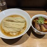らぁ麺や 嶋 - 鰹昆布水つけ麺【醤油】+特製+つけ麺大盛。