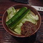 山田食堂 - お通し、力士味噌と生野菜