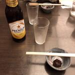 かんだやぶそば - ノンアルコールビール(660円税別)とねりみそ