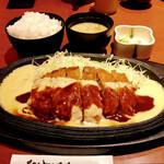 jukuseitonkatsubanikugyuutantantontan - チーズデミソースかつ170g(通常 税込1,400円)             +ご飯セット(ご飯・お味噌汁・お新香付き/税込390円)
