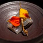 レストラン オオツ - 2021.3 細魚 細魚皮の天日干し 薪の香りの燻製キャヴィア