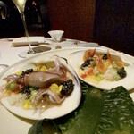 148532577 - 連れ:蛤とキャビアのササニシキリゾット 蛍烏賊 桜海老 桜海老を一尾食べましたが、桜海老が無くても私は生きていけると確信しました。