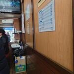 キッチン台栄 - 背中はやっと一人通れるくらい。