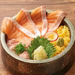 北海道はでっかい道 オホーツクの恵み 湧別町 - ねぎとろサーモン丼