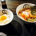 Kyouka - 醤油ラーメン1100円税込と卵かけご飯350円税込