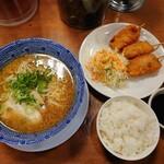 ラーメン はなてん - 料理写真:令和3年3月 ランチタイム 日替わりお昼のセット ごま味噌麺+ライス+豚玉ねぎ 税込880円