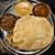 南インド料理店 ボーディセナ - 料理写真:3種のカレー。右上から反時計回りにマトン・チキン・野菜。バトゥーラの下にバスマティライスが