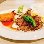 ビフテキのHibio スエヒロ - 日替わり(えびクリームコロッケ+てりやきステーキ)