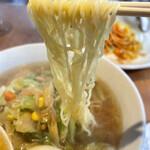 リバーサイド - スタミナラーメン 麺アップ