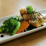 148910938 - カスミアジのソテー 野菜も美味しい( *´艸)