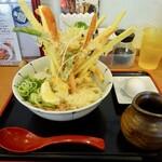 讃岐のおうどん 花は咲く - 彩り4種野菜のかき揚げぶっかけ¥990+温玉¥120