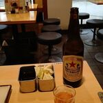 148940292 - ●ランチ 単品。中瓶ビール570+串揚(エビ220・玉ねぎ160・蓮根160・キス160・うずら卵140)=1,410円