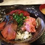 KA-TSU - 本マグロの三色丼(冷凍本マグロ赤身漬け+中トロ+ネギトロ)