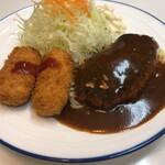 キッチンアオキ - ハンバーグとカニポテトコロッケ(1250円)