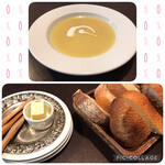 148960313 - さつまいものスープ(上)とパン2種(下)