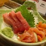 大番寿司 - これ中トロ一切れ食べた後の写真ね。値段不明。へへへ。