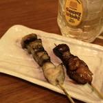 クシヤキ酒場ヤリキ - 2012.8 あぶら(1串110円)、ちれ(1串110円)