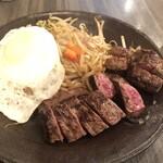 Teppanyakitouyou - ランチ 和牛サービスステーキと目玉焼き