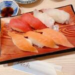 きづなすし - 本鮪赤身、鯛、サーモン