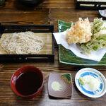 蕎仙 - 生さくらえび・生シラス天ぷら せいろつき 1750円