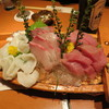松銀亭 - 料理写真:旬のお刺身三点盛り (まぐろ、カンパチ、北海タコ)