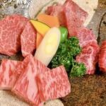 焼肉処 しずか - 特選和牛の盛り合わせ ヒレ・サーロイン・タンステーキ・特上ハラミ