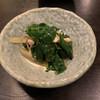 通しあげ そば鶴 - 料理写真:お通し。葉っぱと油揚げ。