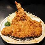 とんかつ 勝 - 料理写真:ロース定食・海老フライ付+カキフライ