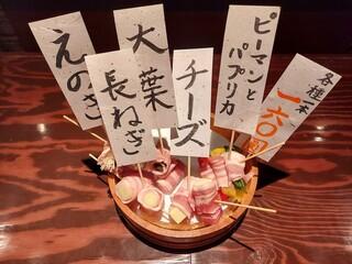 ろばたや - 杜仲茶豚バラ肉巻き串