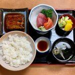 149059357 - うなぎと刺身定食 ¥1,000