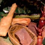 149062008 - 新筍天婦羅、焼空豆、串焼蛍烏賊、石鯛肝