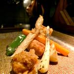 149062010 - 甘鯛揚げと、鱗揚げ、焼き物に自家製肉味噌