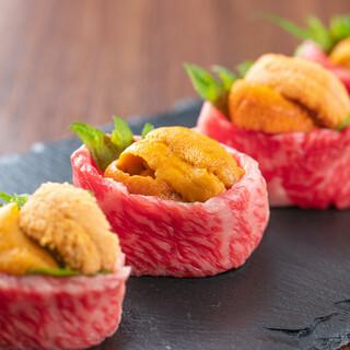 極上のお肉で作る炙り肉寿司が食べ放題