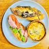 ムーラン エ カフェ グウ - 料理写真:上: アンチョビ・オリーブ 左: パストラミ 右: タコとバジルの菜園風キッシュ