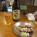 門司港 - 料理写真:赤星ラガーとハツ、レバー。レバーに刻み葱がグー。