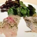 14914423 - 鮮魚のカルパッチョ   (イサキと太刀魚)
