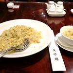 """149142780 - """"大山鶏の中国塩魚炒飯""""セット 1,800円+サービス料10%、セットにはデザートとドリンクがつきます。"""