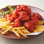 村さ来 - 倍盛り!真っ赤な鶏の唐揚げ 四川豆板醬味