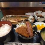 酔心酒蔵 - サバの味噌煮+ハムカツ