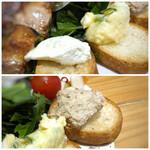 焼鳥喫茶大名へて - ◆3種のパテ・・ポテサラ・レバーパテ・チーズ豆腐。ビールのつまみには最適でしたね。 ただパンまで全部頂くと多いので、2種は上のパテだけ頂きましたが美味しい。