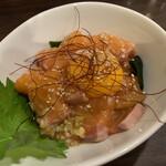 Tamoya - サーモンのネギ塩ユッケ