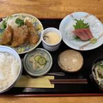 一源 - マグロ刺とアジフライ定食