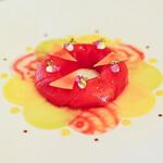 149330830 - 北海道産紅芯大根と根菜 カラスミとホタテ貝のカルパッチョ、レモンを香らせて