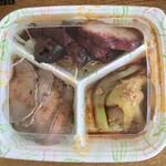 広味坊 - 前菜3種盛り1,620円 ローストビーフ 翡翠茄子のニンニクソース イベリコの焼き豚