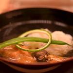 銀座 小十 - 鱧・松茸・蓮根の練り物のお吸い物