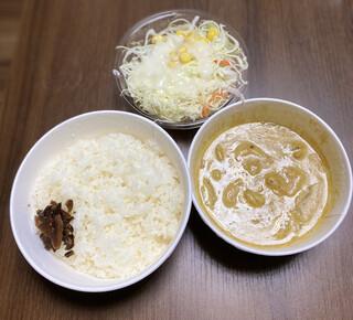松屋 - オマール海老ソースのクリームカレー 生野菜セット880円税込み