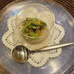 149378978 - 赤パプリカのムース                         真鯛 ズワイガニ 雲丹のサラダ
