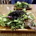 BiOcafe - 無農薬・無化学肥料のBioサラダ  ドレッシングは4種類からお好きな物を一つ選びます。 私は、トマトとバジルの甘酸っぱいドレッシング。 連れは、お野菜とディルのハーブドレッシング。 お代わり自由です♪